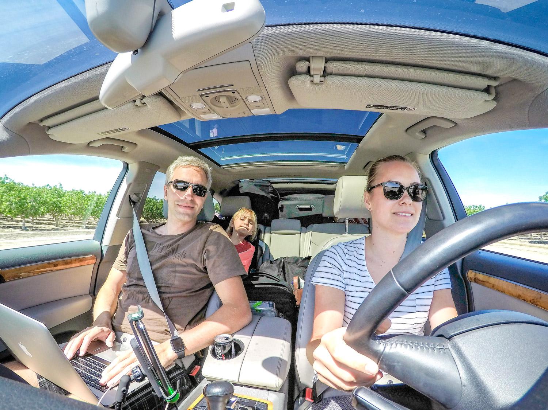 digital nomad in car